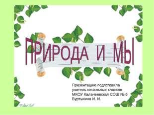 Презентацию подготовила учитель начальных классов МКОУ Калачеевская СОШ № 6 Б
