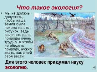 Что такое экология? Мы не должны допустить, чтобы наша земля была похожа на
