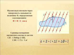 Магнитным потоком через поверхность называется величинаФ, определяемая соот