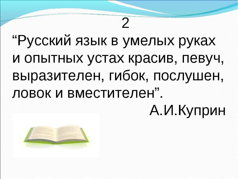 """2 """"Русский язык в умелых руках и опытных устах красив, певуч, выразителен, г..."""