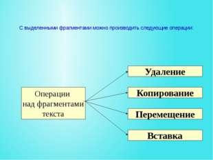 С выделенными фрагментами можно производить следующие операции: Копирование У