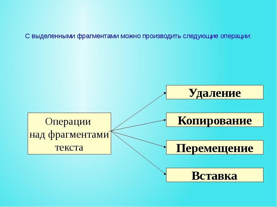 С выделенными фрагментами можно производить следующие операции: Копирование У...