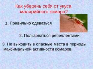 Как уберечь себя от укуса малярийного комара? 1. Правильно одеваться. 2. Поль