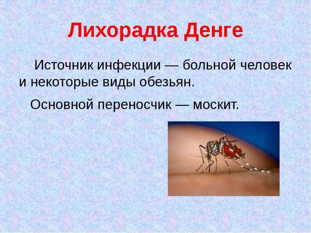 Лихорадка Денге Источник инфекции — больной человек и некоторые виды обезьян....