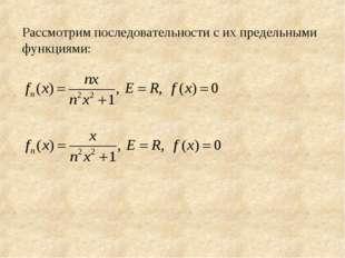 Рассмотрим последовательности с их предельными функциями: