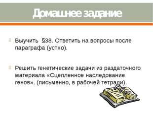 Домашнее задание Выучить §38. Ответить на вопросы после параграфа (устно). Ре