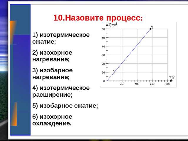10.Назовите процесс: 1) изотермическое сжатие; 2) изохорное нагревание; 3) и...