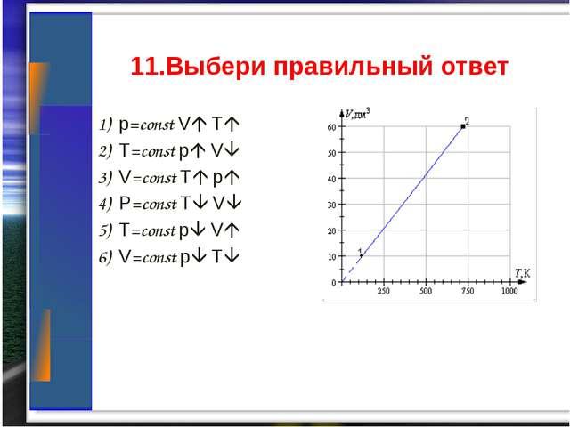 1) p=const V T 2) T=const p V 3) V=const T p 4) P=const T V 5) T=con...