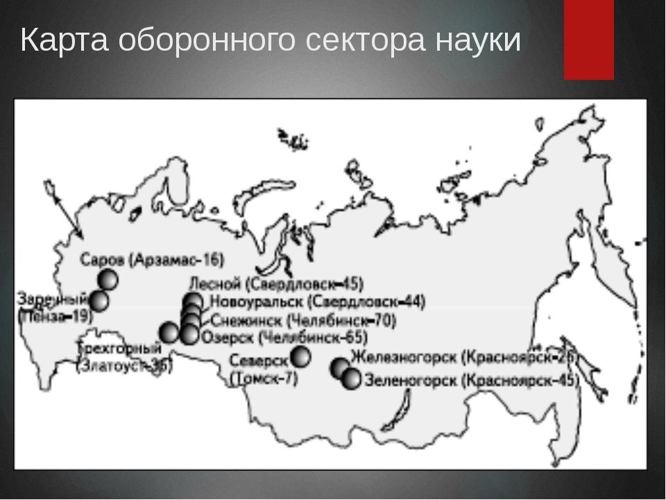 Карта оборонного сектора науки