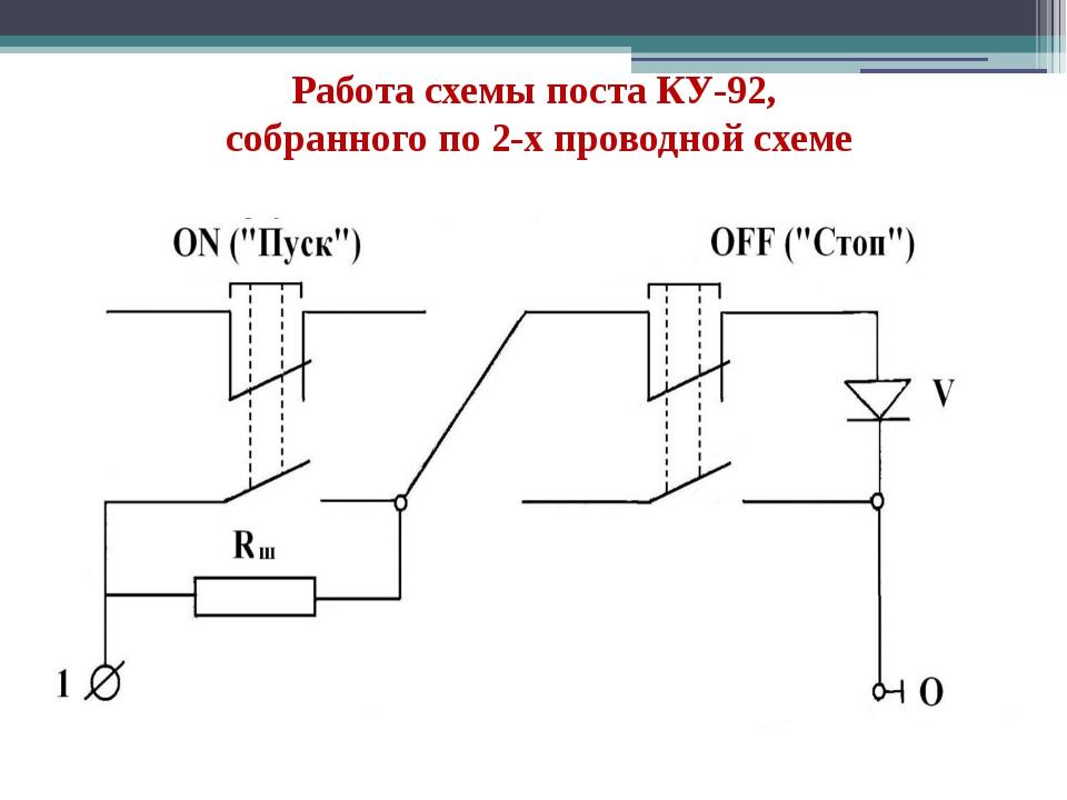 Работа схемы поста КУ-92, собранного по 2-х проводной схеме