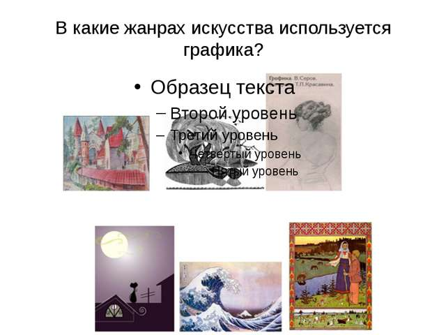 В какие жанрах искусства используется графика?