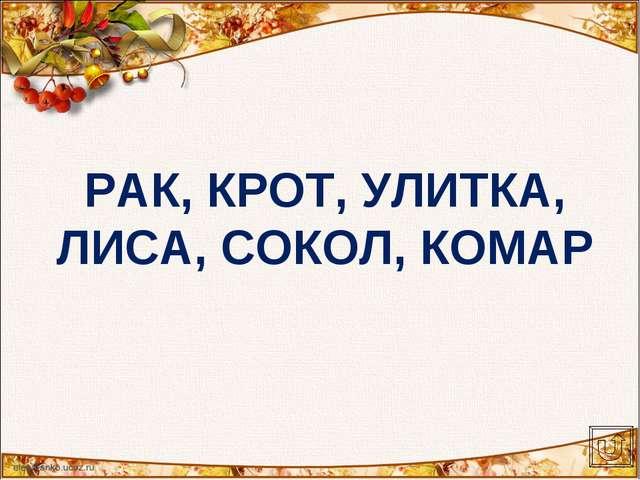 РАК, КРОТ, УЛИТКА, ЛИСА, СОКОЛ, КОМАР
