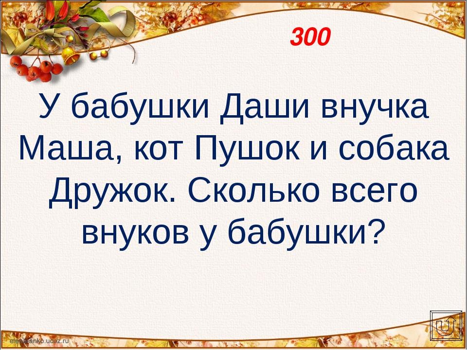 300 У бабушки Даши внучка Маша, кот Пушок и собака Дружок. Сколько всего внук...
