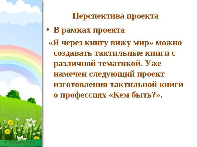 Перспектива проекта В рамках проекта «Я через книгу вижу мир» можно создавать...