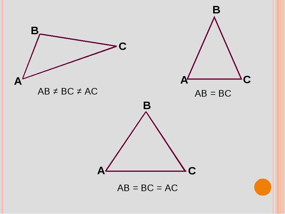 AB ≠ BC ≠ AC AB = BC AB = BC = AC