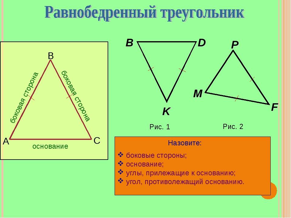 В А С боковая сторона боковая сторона основание Рис. 1 D Рис. 2 боковые сторо...