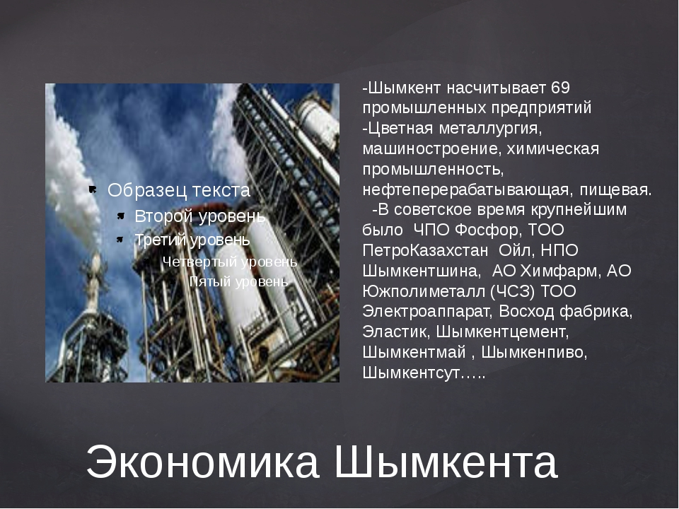 Экономика Шымкента -Шымкент насчитывает 69 промышленных предприятий -Цветная...