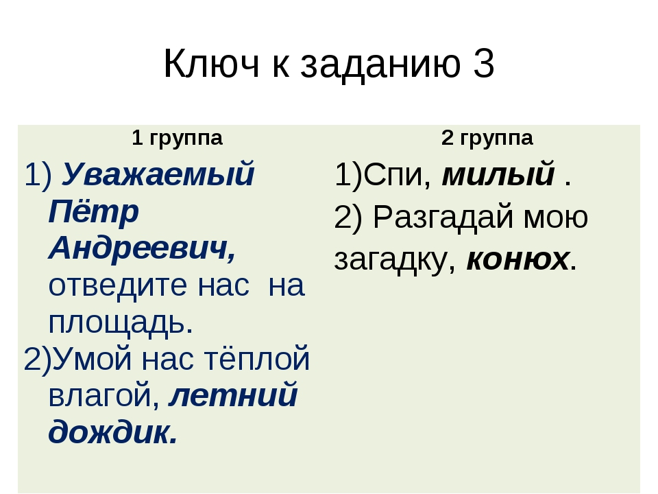 Ключ к заданию 3 1 группа 2 группа Уважаемый Пётр Андреевич, отведите нас на...