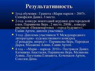 Результативность 1год обучения : Грамота «Марш парков – 2007г. Самофалов Дан