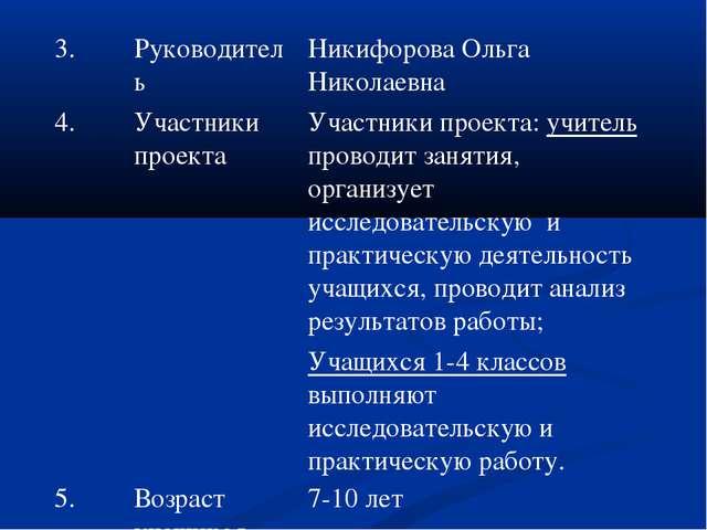 3.РуководительНикифорова Ольга Николаевна 4.Участники проекта Участники п...