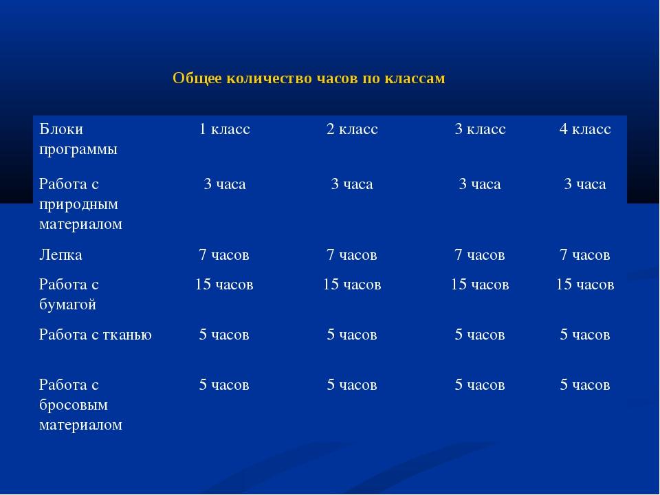 Общее количество часов по классам Блоки программы1 класс2 класс3 класс4 к...