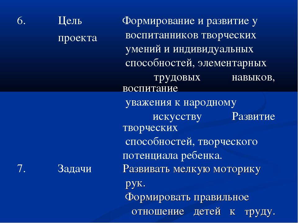 6.Цель проектаФормирование и развитие у воспитанников творческих умений и и...