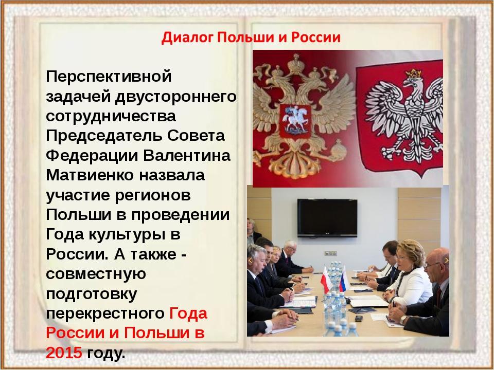 Перспективной задачей двустороннего сотрудничества Председатель Совета Федера...