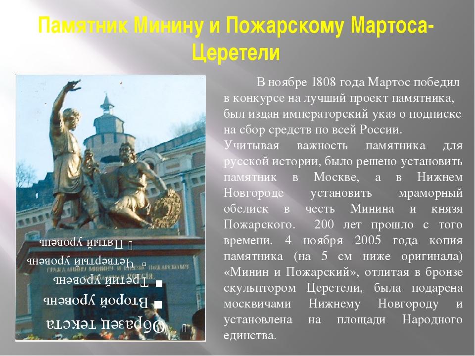 Памятник Минину и Пожарскому Мартоса-Церетели В ноябре 1808 года Мартос побед...