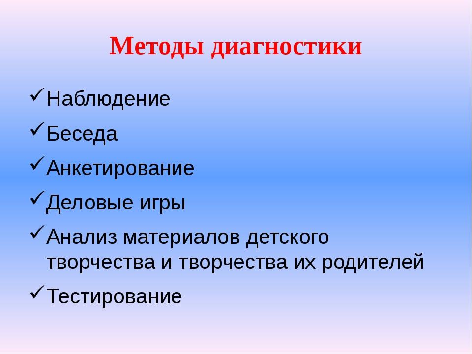 Методы диагностики Наблюдение Беседа Анкетирование Деловые игры Анализ матери...