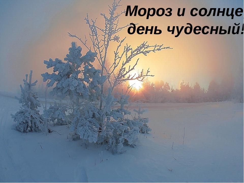 Мороз и солнце; день чудесный!