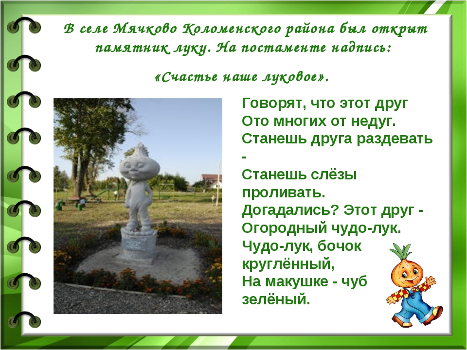 В селе Мячково Коломенского района был открыт памятник луку. На постаменте на...