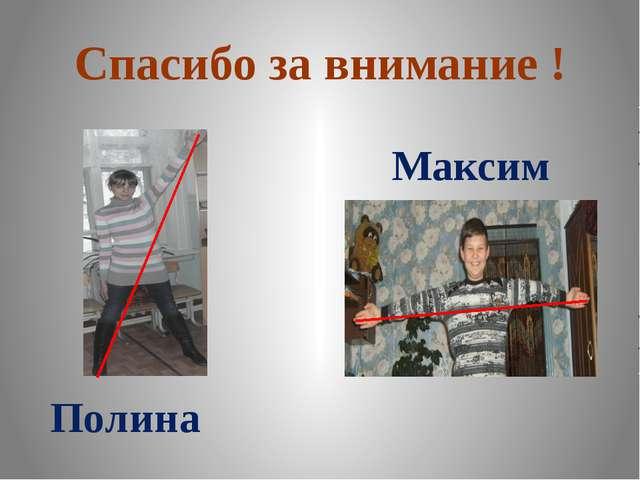Спасибо за внимание ! Полина Максим
