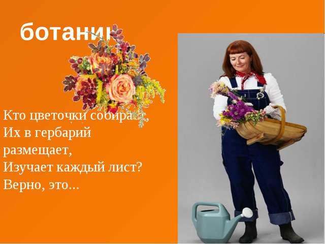 ботаник Кто цветочки собирает, Их в гербарий размещает, Изучает каждый лист?...