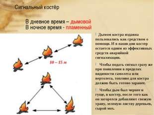 Сигнальный костёр В дневное время – дымовой В ночное время - пламенный 10 – 1