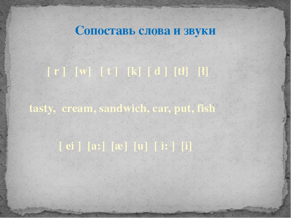 Сопоставь слова и звуки ∫ [ r ] [w] [ t ] [k] [ d ] [t∫] [∫]  tasty, cream,...