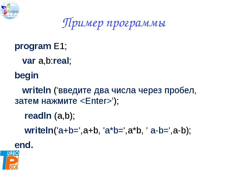 Пример программы program E1; var a,b:real; begin writeln ('введите два числа...