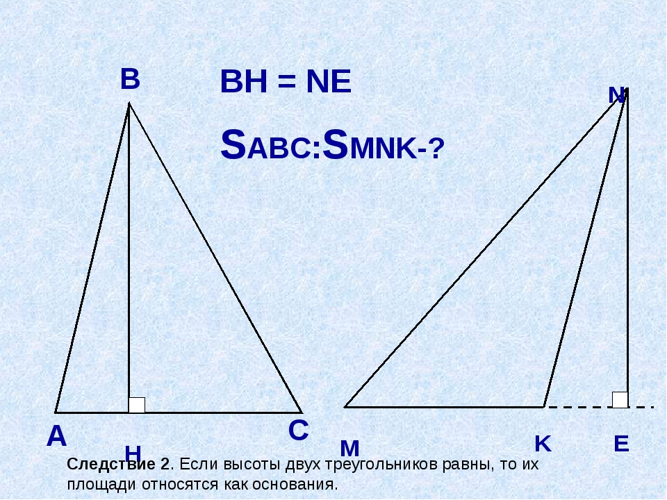 А В С H М N E K BH = NE SABC:SMNK-? Следствие 2. Если высоты двух треугольник...