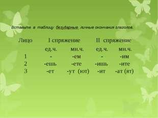 Вставьте в таблицу безударные личные окончания глаголов. ЛицоI спряжениеII