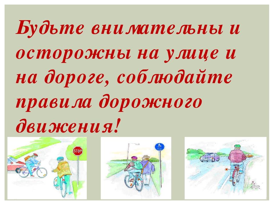Будьте внимательны и осторожны на улице и на дороге, соблюдайте правила дорож...