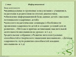 2 этап Информационный Виды деятельности: индивидуальные и групповые консульта