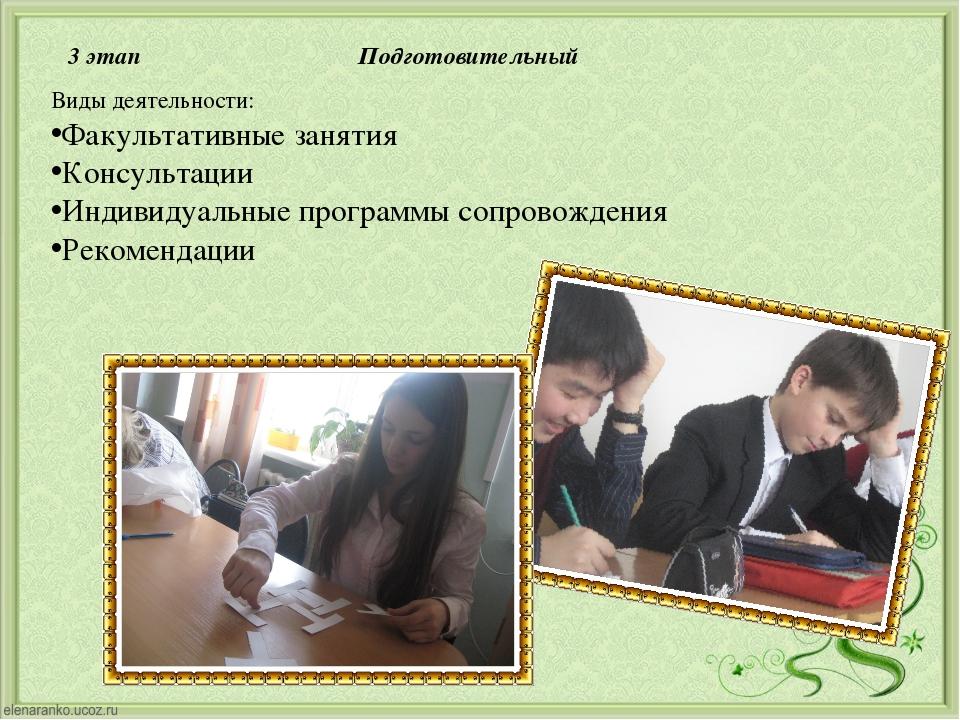 3 этап Подготовительный Виды деятельности: Факультативные занятия Консультаци...