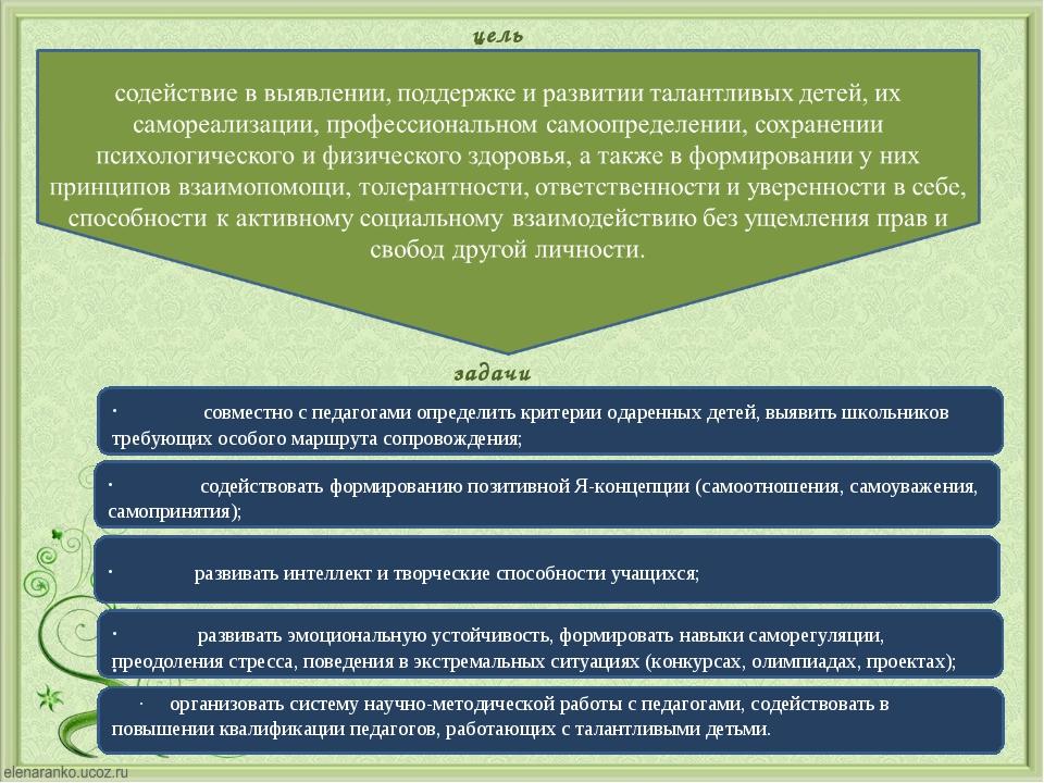 цель задачи · совместно с педагогами определить критерии одаренн...