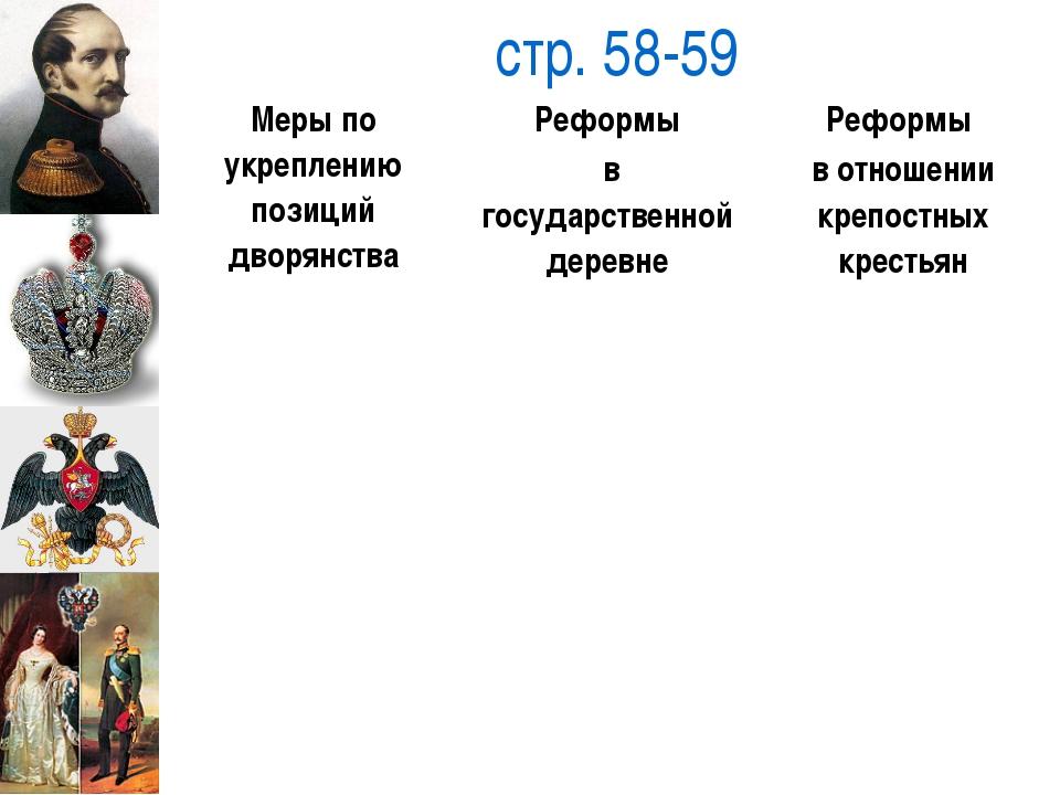 стр. 58-59 Меры по укреплению позиций дворянства Реформы вгосударственнойдер...