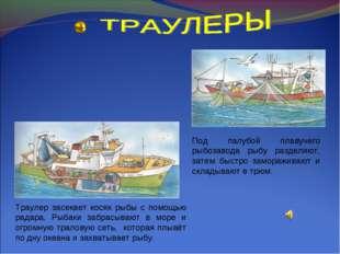 Траулер засекает косяк рыбы с помощью радара. Рыбаки забрасывают в море и огр