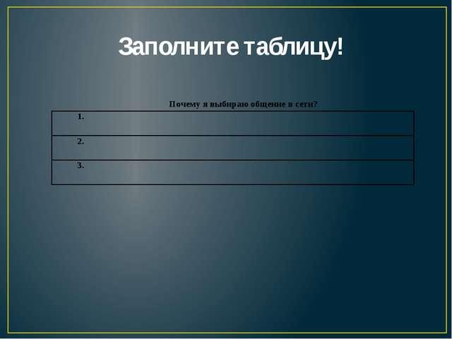 Заполните таблицу!