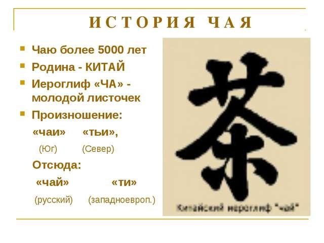 Чаю более 5000 лет Родина - КИТАЙ Иероглиф «ЧА» - молодой листочек Произношен...