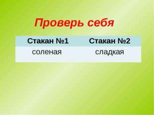 Проверь себя Стакан №1Стакан №2 соленаясладкая