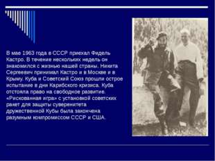 В мае 1963 года в СССР приехал Фидель Кастро. В течение нескольких недель он