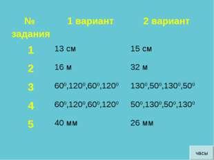 часы № задания1 вариант2 вариант 113 см15 см 216 м32 м 3600,1200,600,1