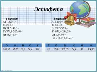 Эстафета 1 вариант 2 вариант А) 13,6*4= А) 6,8*8= Б) 24,6:3= Б) 16,4:2= В) 34